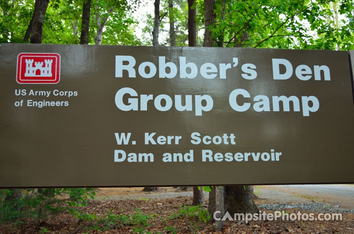 Robbers Den Group Camp Sign