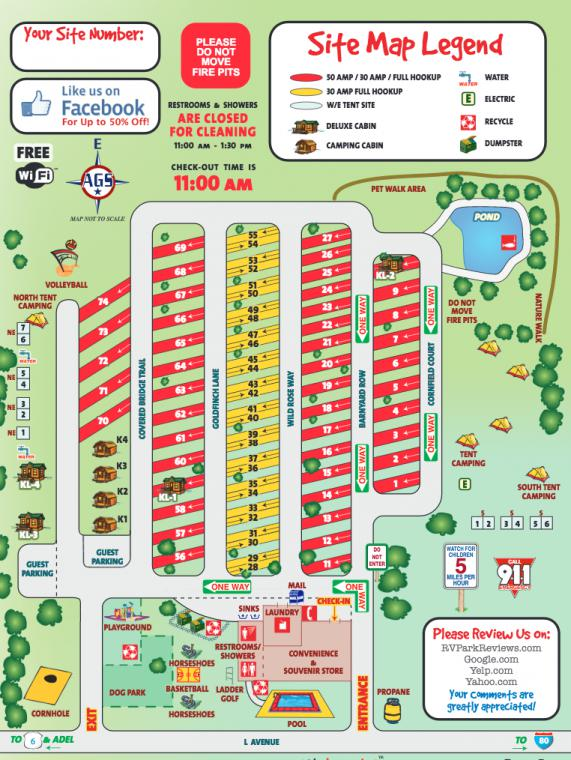 Des Moines West KOA - Campsite Photos on slc map, fll map, coarsegold california map, zip code map, route map,