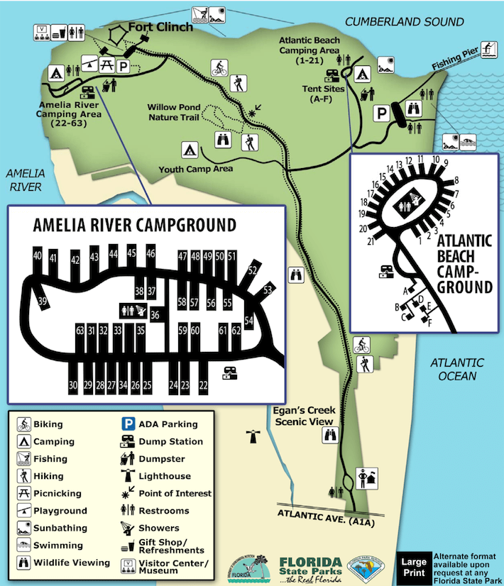 Florida Campgrounds Map.Fort Clinch State Park Campsite Photos Camp Info Reservations